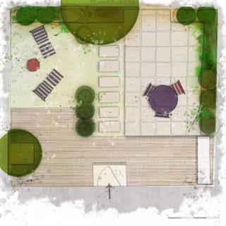 terrasse - 3 lieux de vie au jardin - plan